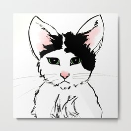 Sadface Cat Sketch Metal Print