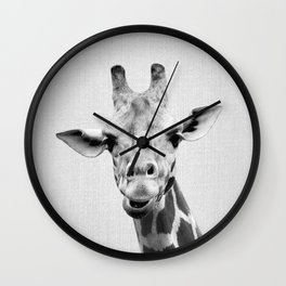Giraffe 2 - Black & White Wall Clock