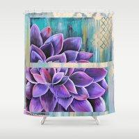 dahlia Shower Curtains featuring DAHLIA by hippocrocaduck