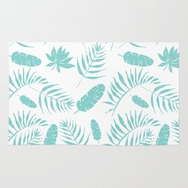Tropical leaves pattern mint Rug