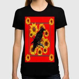 Black Crow Yellow Sunflowers ON Chinese Red Pattern T-shirt