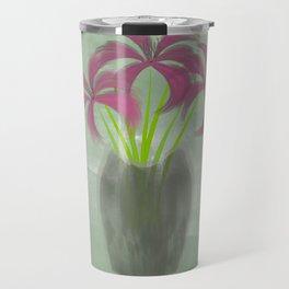 Pink Lilies in Vase Travel Mug