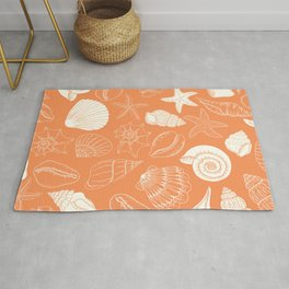 Seashells and Starfish Pattern in Orange Creamsicle Rug