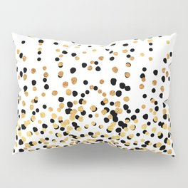 Floating Dots - Black and Gold on White Pillow Sham