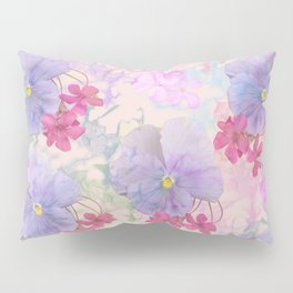 Painterly purple pansies and pink Oxalis Pillow Sham