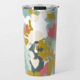 Rumor - Abstract painting, design pink mustard blue painterly design Travel Mug