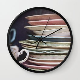 Vintage teacups, saucers and books Wall Clock