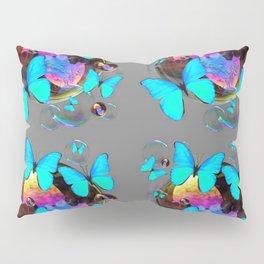 MODERN ART NEON BLUE BUTTERFLIES PATTERNS ART Pillow Sham