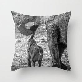 B&W Elephant Love 3 Throw Pillow