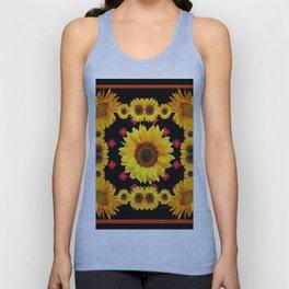 Black Western Blanket Style Sunflowers Unisex Tank Top