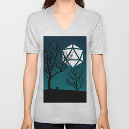 Starry Night Forest D20 Dice Moon Unisex V-Neck