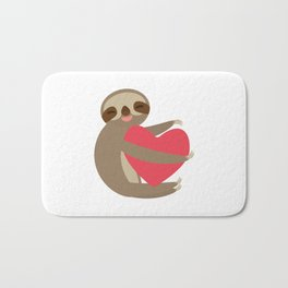 Funny sloth with a red heart Bath Mat