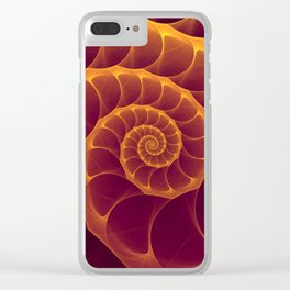 Infinity | Gold Burgundy Sea Shell Clear iPhone Case