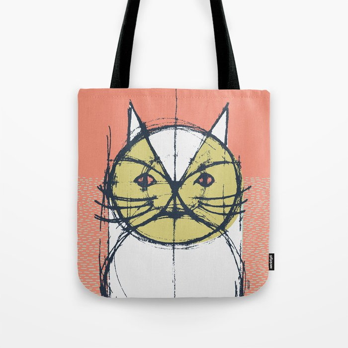 Cubist Cat Study #12 by Friztin Tote Bag