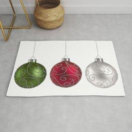 Green, Red, Silver Christmas Ornaments Minimalist Art Rug
