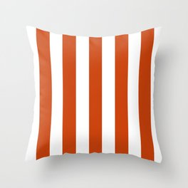 Sinopia red - solid color - white vertical lines pattern Throw Pillow