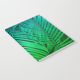 TROPICAL GREEN BLUE LEAVES Notebook