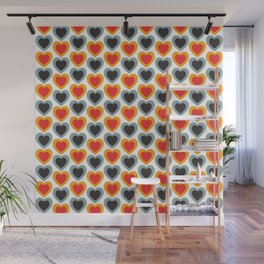 Mid-century Modern Hearts, Abstract Vintage Heart Pattern in Classic Red, Orange, Black and Grey Blue Color Wall Mural