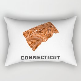 Connecticut - State Map Art - Abstract Map - Brown Rectangular Pillow