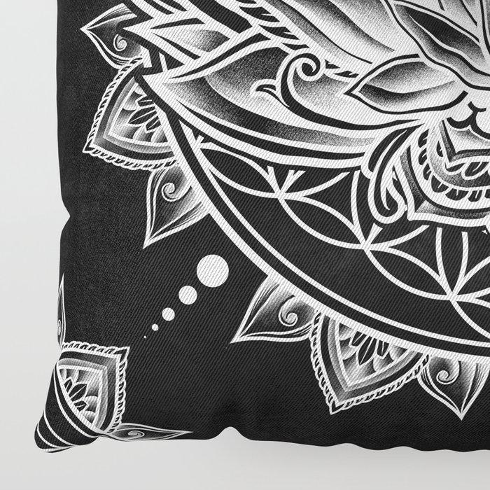 Lotus Mandala - Black Floor Pillow by angoes25   Society6