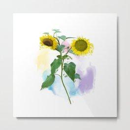 Digital painting of Two Sunflowers Metal Print