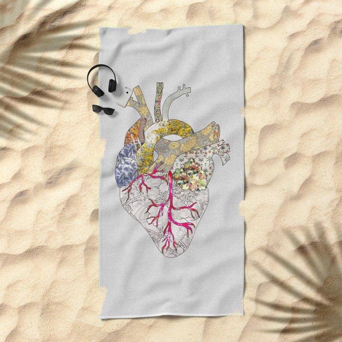my heart is real Beach Towel