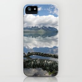 Images USA Lake McDonald, Glacier National Park, Montana Birch Nature mountain park forest Trunk tree Reflection Mountains Parks Forests reflected iPhone Case