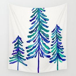 Pine Trees – Navy & Turquoise Palette Wall Tapestry
