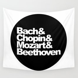 Bach and Chopin and Mozart and Beethoven, sticker, circle, black Wall Tapestry