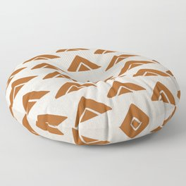 Mudcloth Ochre Burn Orange Geometric Shapes in White - ARROWS 4 Floor Pillow