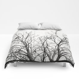 Birds in Branches Gothic Silhouette Comforters