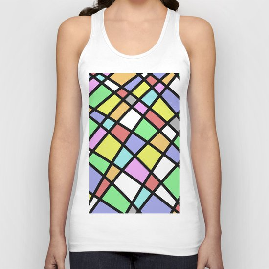 Crazy Pastel Paving - Abstract, pastel coloured mosaic paved pattern Unisex Tank Top