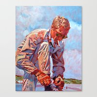 steve mcqueen Canvas Prints featuring Steve McQueen Cool by David Lloyd Glover