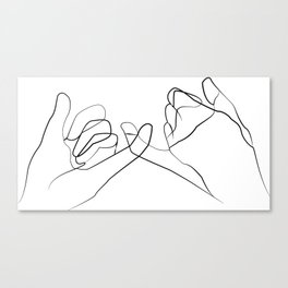 Pinky Swear Printable, One Line Drawing Print, Black White Hands Artwork, Hand Poster Canvas Print