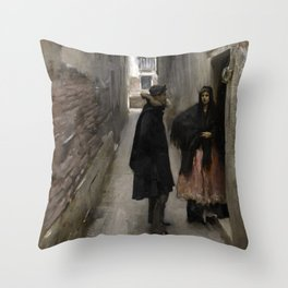 A Street in Venice by John Singer Sargent - Vintage Fine Art Oil Painting Throw Pillow