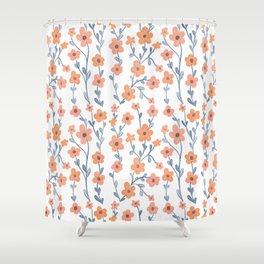 Orange Blue Foral Pattern Shower Curtain