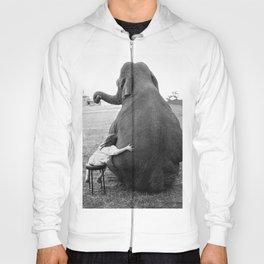 Odd Best Friends, Sweet Little Girl hugging elephant black and white photograph Hoody