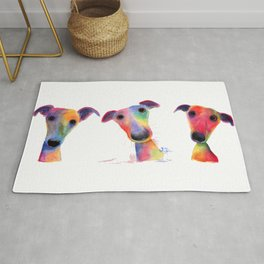' THe WaCKY WHiPPeTS ' WHiPPeT, GReYHouND PRiNTs, ART Rug