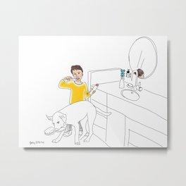 Morning Routine 4 - Brushing Teeth Metal Print