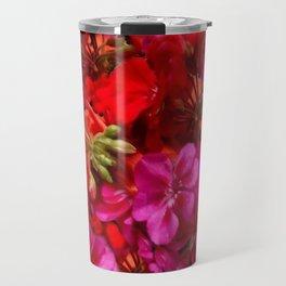 Fuchsia & Red Geraniums Floral Garden Art Travel Mug