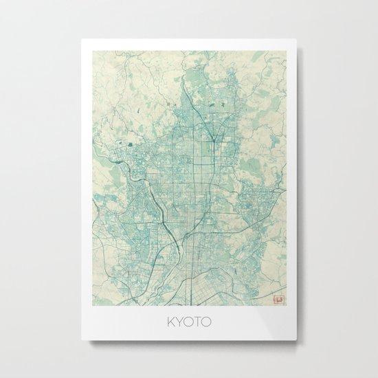 Kyoto Map Blue Vintage Metal Print