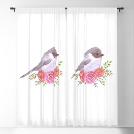 Bushtit and perennial rose plant watercolor painting Blackout Curtain