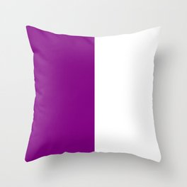 White and Purple Violet Vertical Halves Throw Pillow