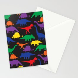 Dinosaurs - Black Stationery Cards