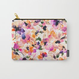 Chic Floral Pattern Pink Orange Pastel Watercolor Carry-All Pouch