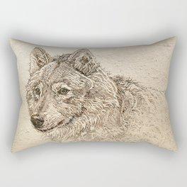 The Gray Wolf's Gaze Rectangular Pillow