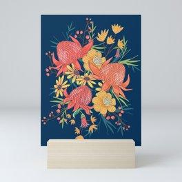 Australian Florals on Blue Mini Art Print