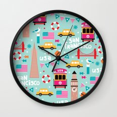 San Francisco travel - Retro style illustration pattern Wall Clock