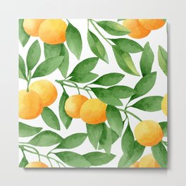 Watercolor Tangerines Pattern Metal Print