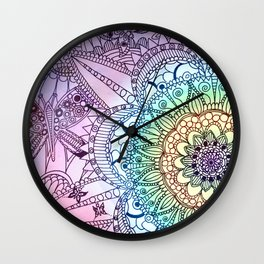 Purple Butterfly Mandala Wall Clock